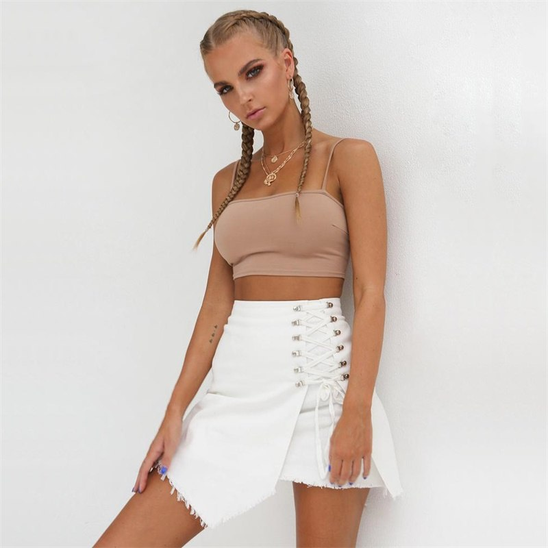 'CBL' High Waist Denim Skirt with Sexy Lace-up