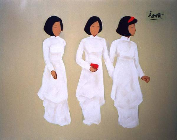 three lady walking