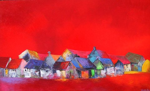 Red house on the rive