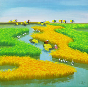 Landscape painting of rice patty