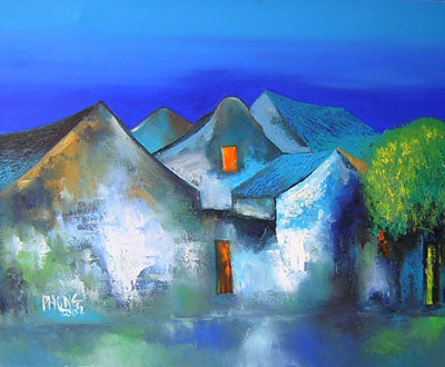 Blue house on the rive