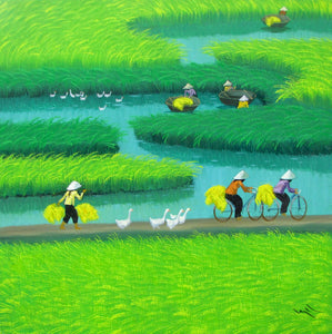 Landscape painting of rice patty in North Vietnam