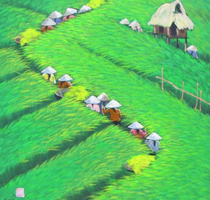 Landscape painting of Spring in the rice patties