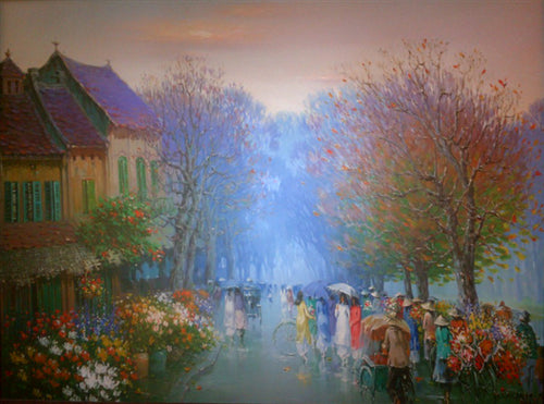 Colourful painting of Vietnamese city