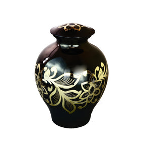 Large Black and Gold Flowers Adult Brass Urn