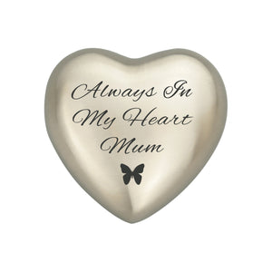 Always in my Heart Mum Silver Butterfly Heart Brass Keepsake Urn