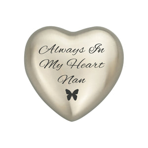 Always in my Heart Nan Silver Butterfly Heart Brass Keepsake Urn