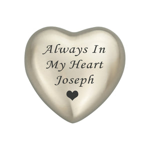 Always in my Heart Personalised Silver Heart Brass Keepsake Urn