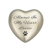 Always in my Heart Personalised Paw Silver Heart Brass Keepsake Urn