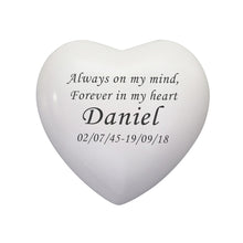 Always and Forever Personalised White Heart Brass Keepsake Urn