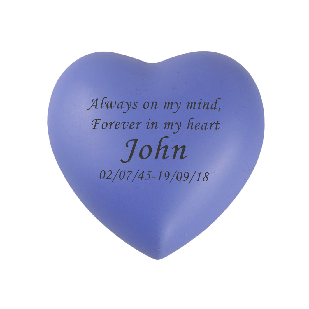 Always and Forever Personalised Purple Heart Brass Keepsake Urn