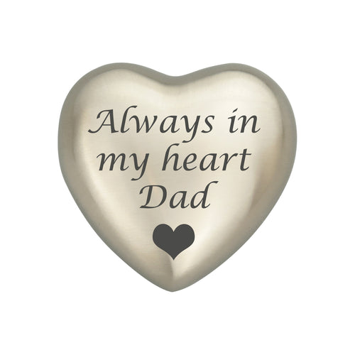 Always in my Heart Dad Silver Heart Brass Keepsake Urn