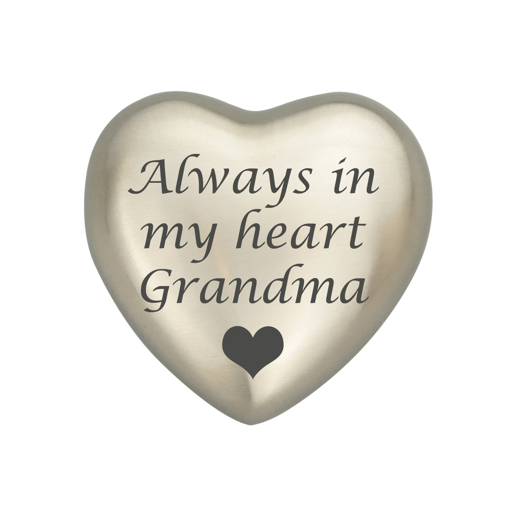 Always in my Heart Grandma Silver Heart Brass Keepsake Urn