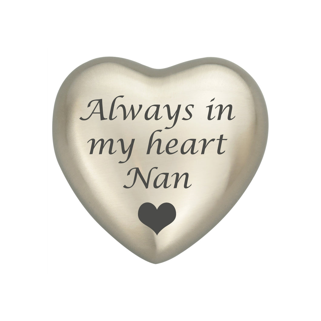 Always in my Heart Nan Silver Heart Brass Keepsake Urn
