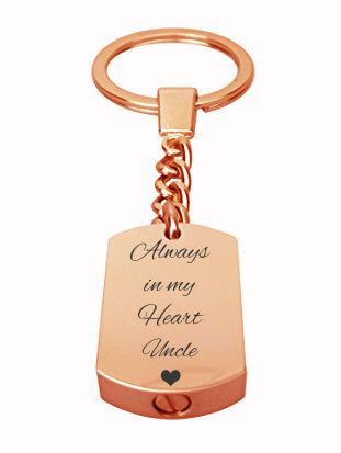 Always in my Heart Uncle Rose Gold Cremation Urn Keychain Keyring