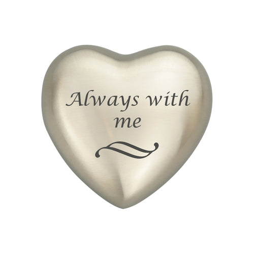 Always With Me Silver Heart Brass Keepsake Urn