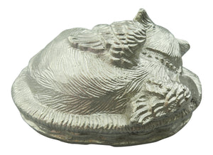 Silver Coloured Angel Cat Urn for Pet Ashes Cremation Memorial