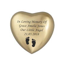 In Loving Memory Baby Personalised Gold Heart Brass Keepsake Urn
