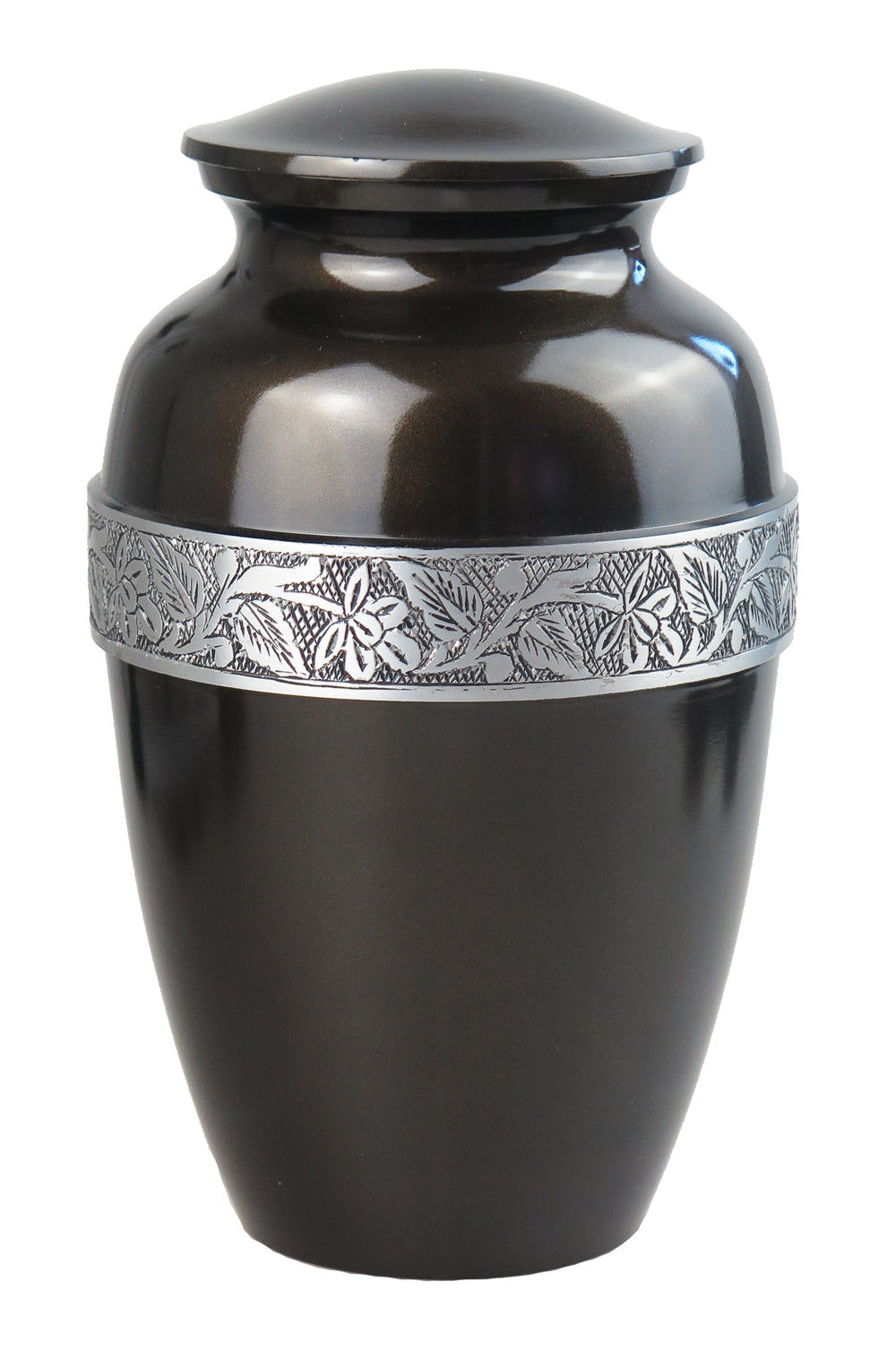 Large Aluminium Black & Silver Adult Urn with Optional Personalised Engraving