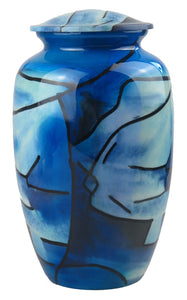 Large Aluminium Blue Abstract Pattern Adult Urn