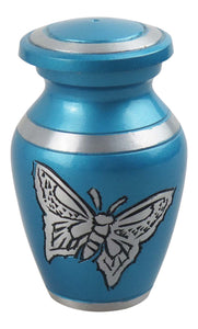 Miniature Blue and Silver Butterfly Keepsake Urn