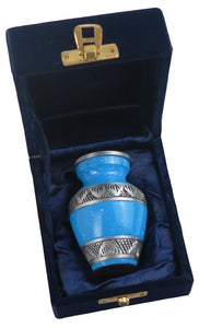 Miniature Blue and Silver Keepsake Urn
