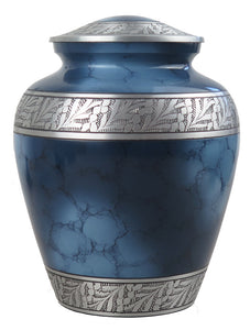 Large Aluminium Blue Pattern with Silver Adult Urn