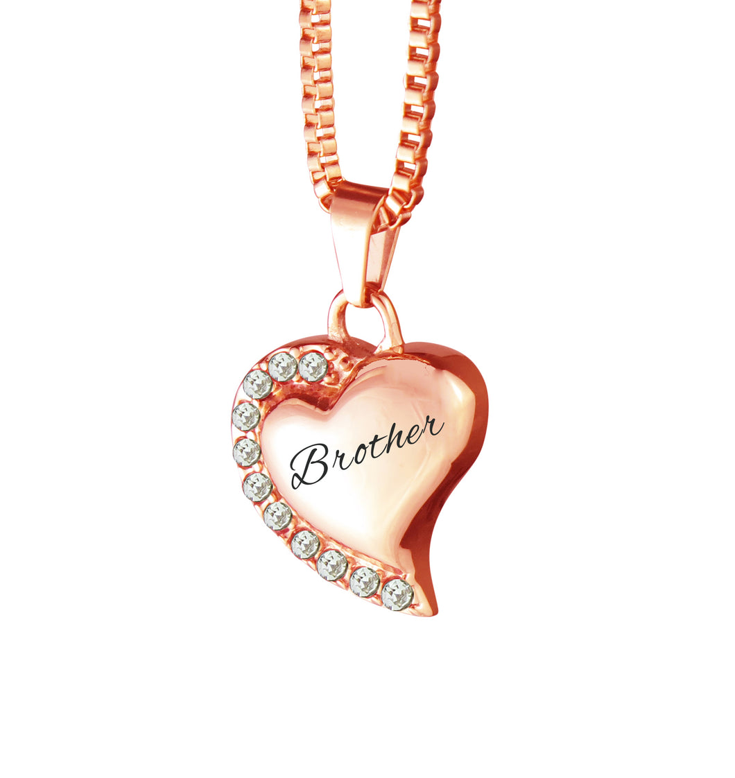 Brother Heart with Crystals Rose Gold Cremation Urn Pendant