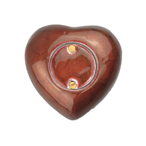 Brown Enamel Heart Keepsake Urn