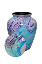 Large Aluminium Purple and Blue Marble Effect Adult Urn