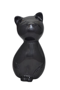 Black Enamel Cat Shaped Pet Urn