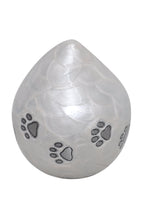 White Enamel Pet Teardrop Urn with Silver Paws