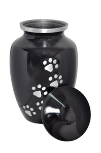 Black Pet Urn with Silver Paws