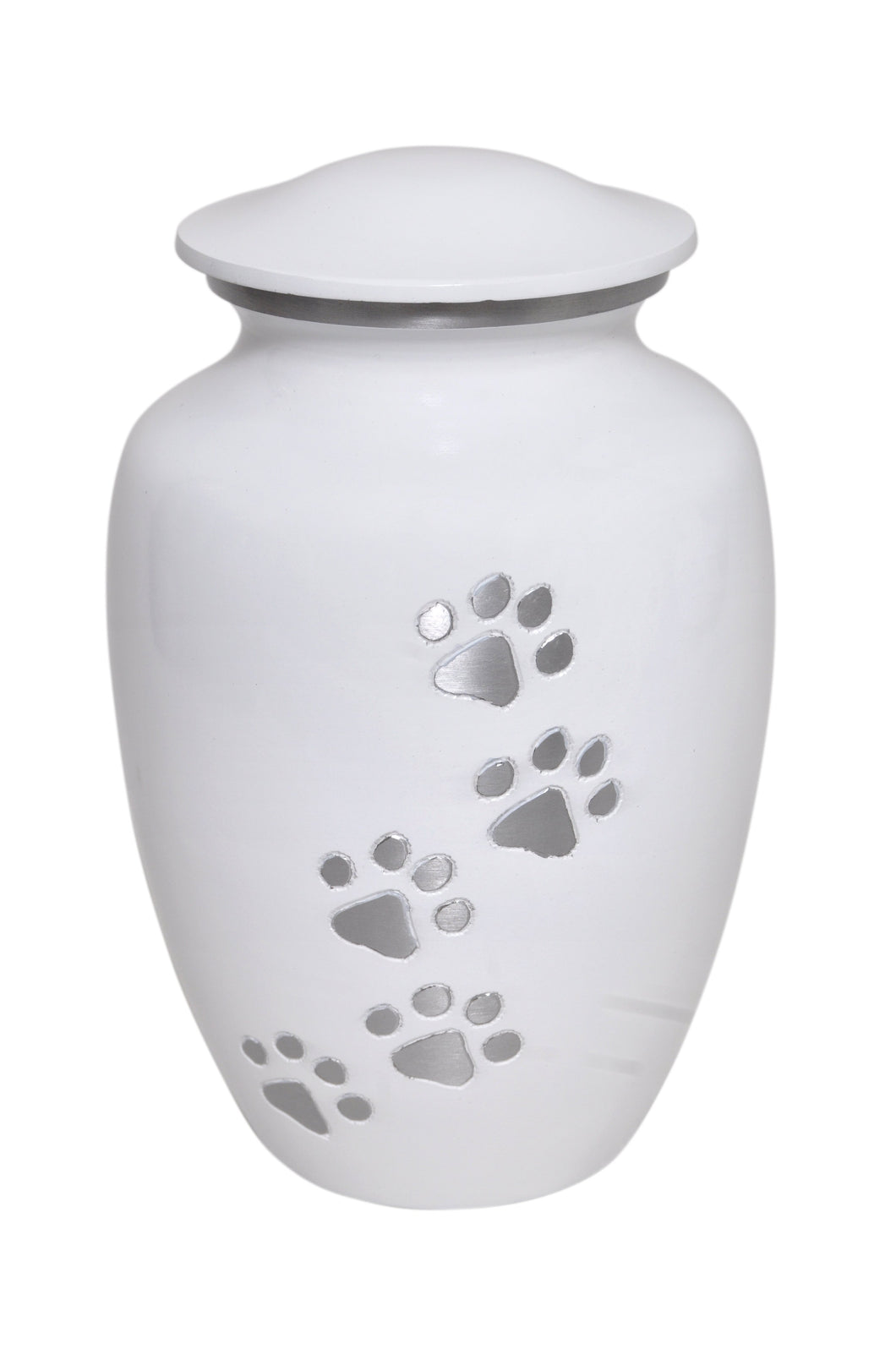 White with Silver Paws Urn