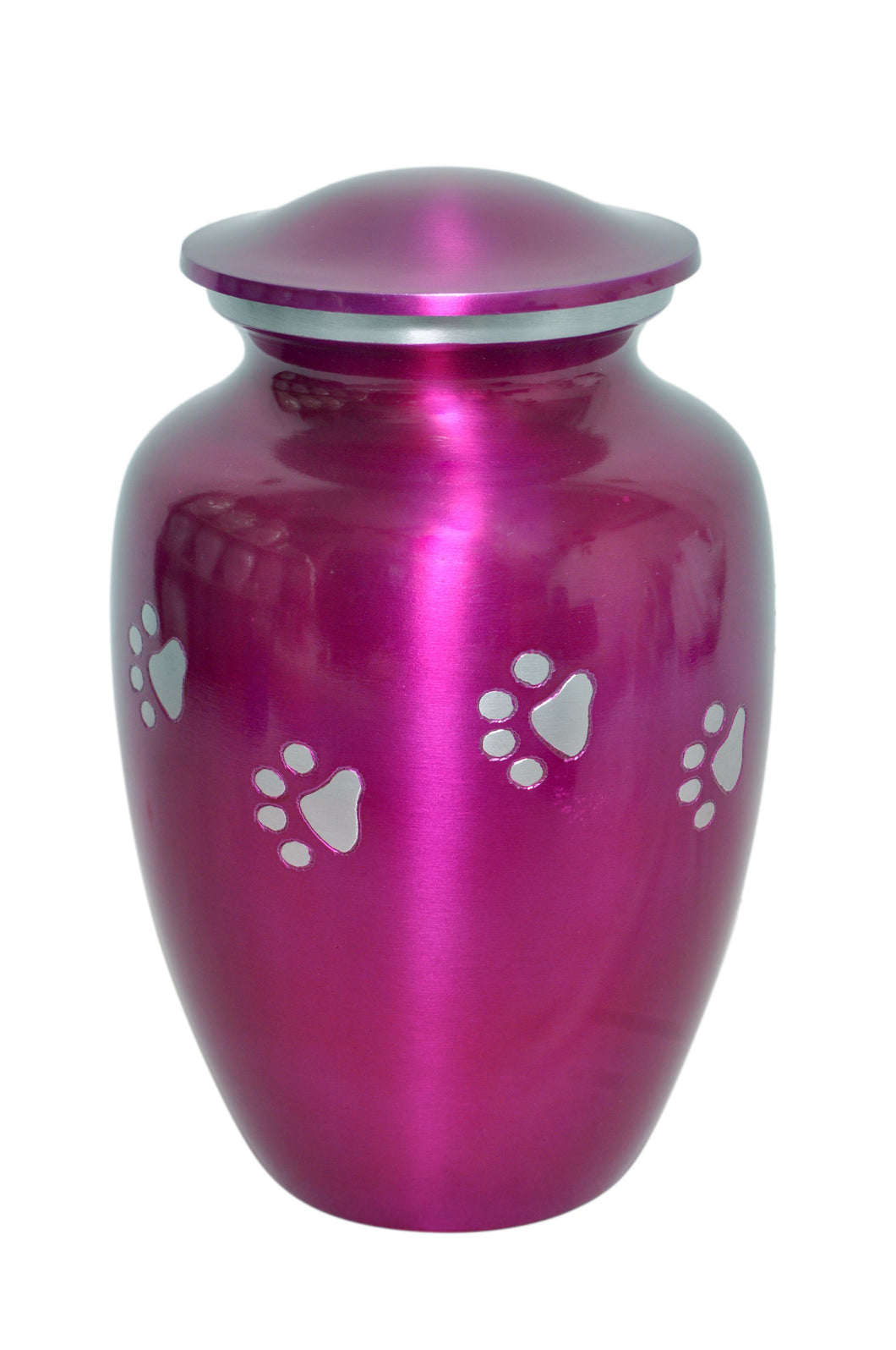 Pink Pet Urn with Silver Paws