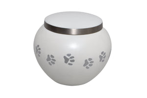Silver Paws White Pet Urn