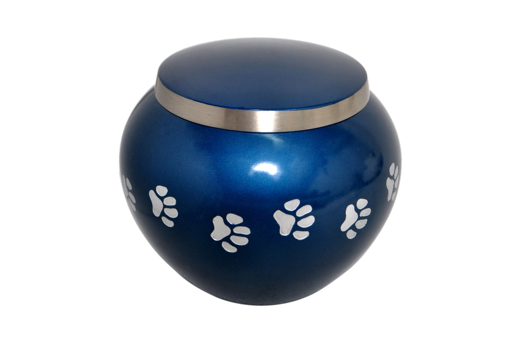 Silver Paws Blue Pet Urn
