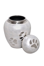 Pearl White Enamel with Silver Paws Urn