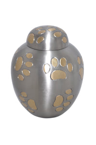Silver Dome Top with Golden Paws Urn
