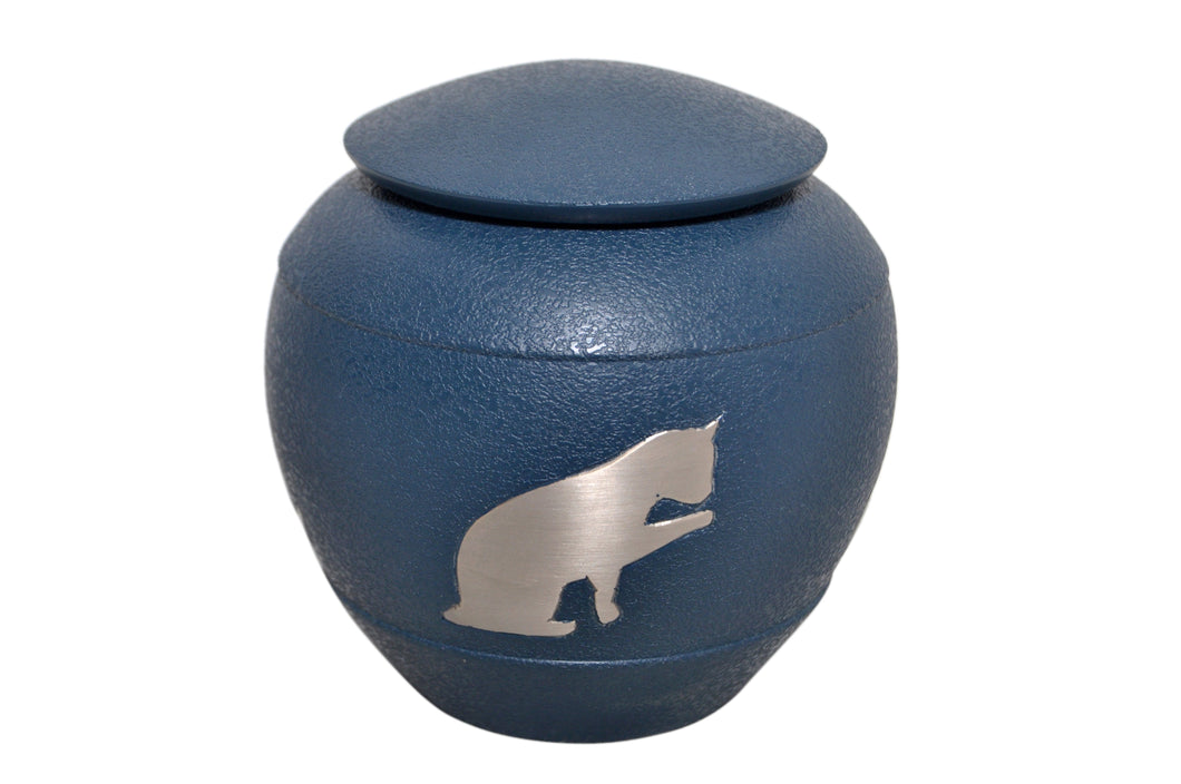 Blue with Silver Cat Urn