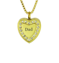 Dad Crystal Gold Heart Cremation Urn Pendant