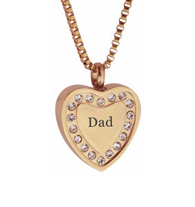 Dad Crystal Rose Gold Heart Cremation Urn Pendant
