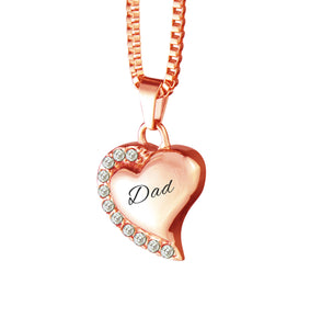 Dad Heart with Crystals Rose Gold Cremation Urn Pendant
