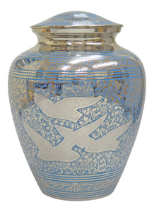 Large Silver & Blue Flying Birds Adult Brass Urn