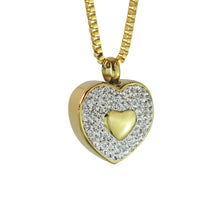 Golden Crystal Heart Cremation Urn Pendant