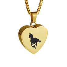 Gold Horse Heart Cremation Urn Pendant