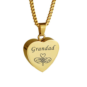 Grandad Patterned Gold Heart Cremation Urn Pendant