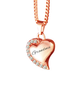 Grandma Heart with Crystals Rose Gold Cremation Urn Pendant