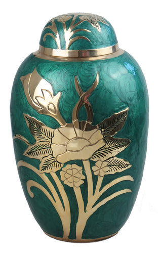 Large Green and Gold Flower Adult Brass Urn