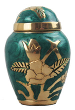 Miniature Green and Gold Flower Keepsake Urn